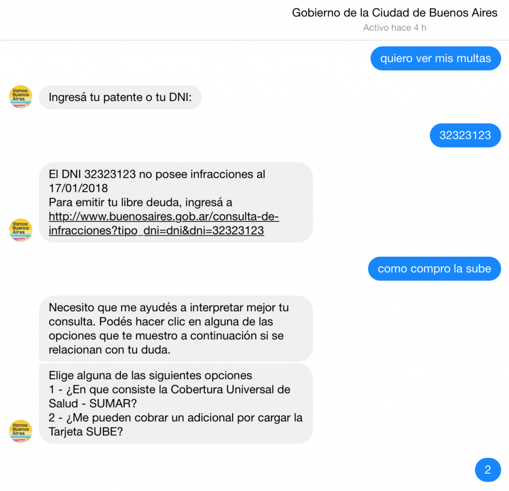 Chatbot Gobierno Buenos Aires